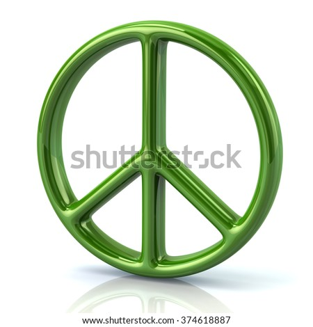 Illustration of green peace symbol isolated on white background - stock photo