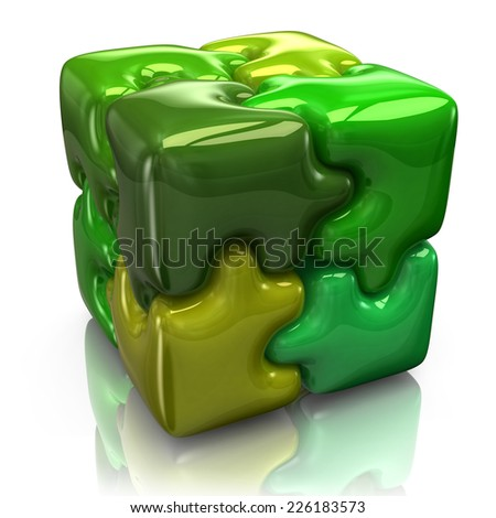 Illustration of green puzzle cube - stock photo