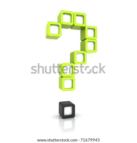 Illustration of green question sign from cubes - stock photo