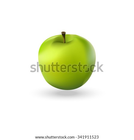 Illustration of green realistic apple. Green apple icon. - stock photo