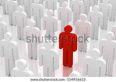 Illustration of group of white 3d figures with single red one - stock photo