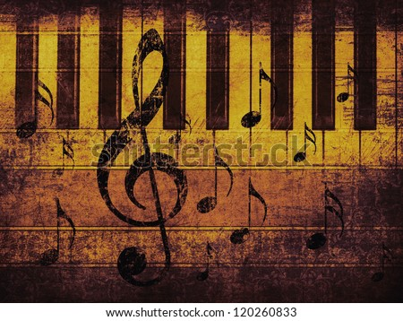 Illustration of grunge retro musical background with notes and piano. - stock photo