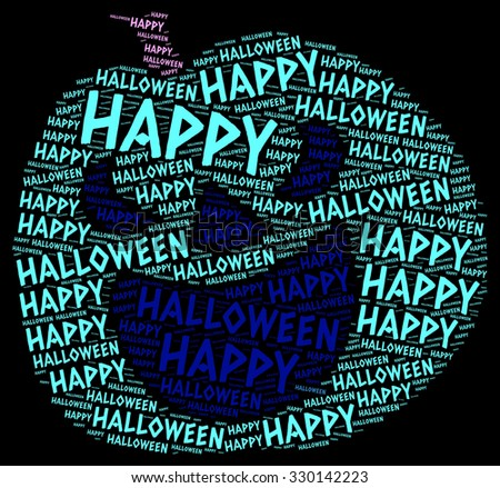 Illustration of Halloween concept word cloud in a pumpkin shape - stock photo