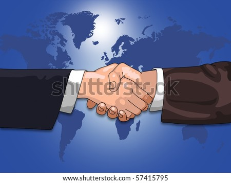 Illustration of hands shaking over a map of the earth - stock photo