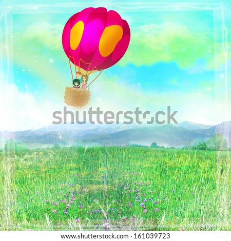 Illustration of happy family in a balloon  - stock photo