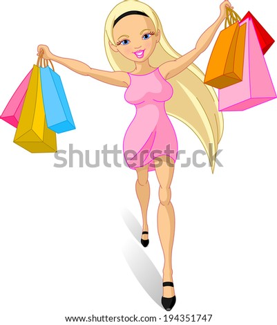 Illustration of happy Shopping girl  - stock photo