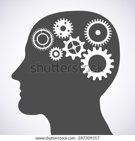 Illustration of head silhouette with gears mechanism as brains. - stock photo