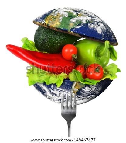 Illustration of healthy World food. Elements of this image furnished by NASA. - stock photo