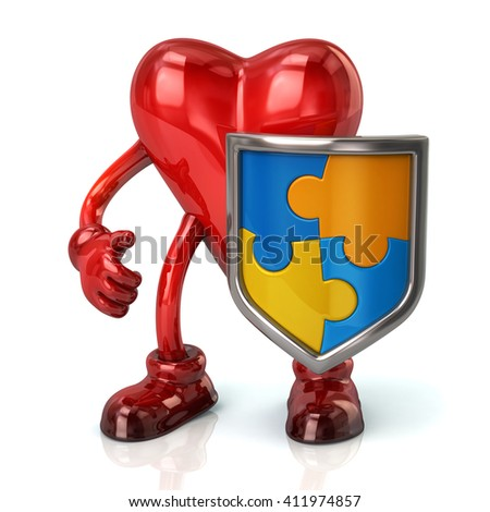 Illustration of heart character and puzzle shield with blue and yellow pieces isolated on white background - stock photo