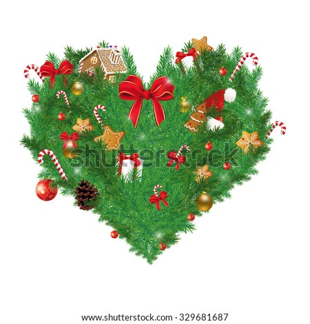 Illustration of Heart shaped Christmas pine with various Christmas items (cookies, sugar cane, ribbon,gift boxes) - stock photo