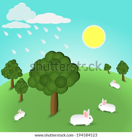 illustration of hill with trees and animals - stock photo