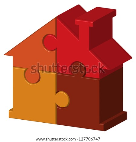 Illustration of house from puzzles - stock photo