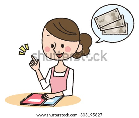 illustration of housewife and money - stock photo