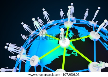illustration of human around globe showing social networking - stock photo