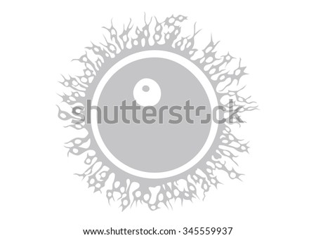 Illustration of human egg silhouette in early phase of development. - stock photo