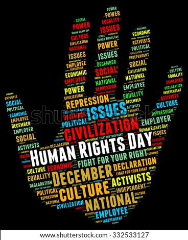 Illustration of Human Rights Day concept in modern word cloud. The date was chosen to honor the United Nations General Assembly's adoption and proclamation, on 10 December 1948 - stock photo