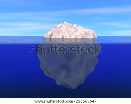 Illustration of iceberg above and below the level of ocean - stock photo
