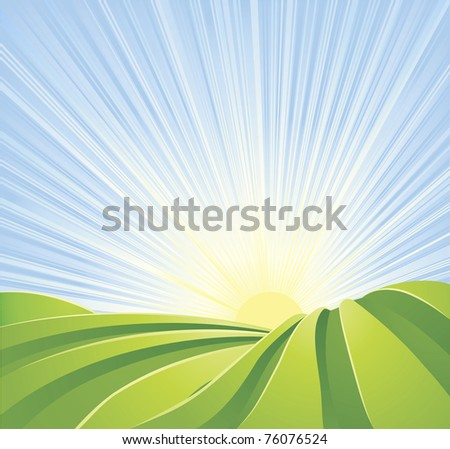 Illustration of idyllic green fields with sunshine rays and blue sky. A perfect landscape scene. - stock photo