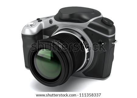 illustration of image of SLR camera against white background - stock photo