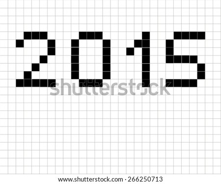 Illustration of 2015 in the format of vintage floor tiles - stock photo