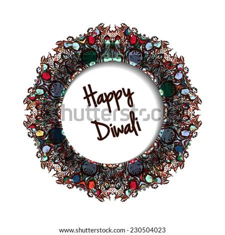 Illustration of Indian festival Diwali.Greeting round label - stock photo