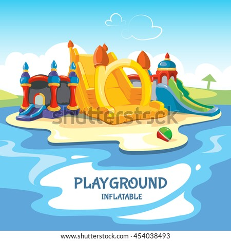 illustration of inflatable castles and children hills on playground. - stock photo