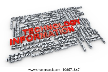 Illustration of information technology Wordcloud - stock photo