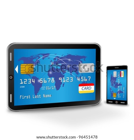 illustration of internet shopping with credit card - stock photo