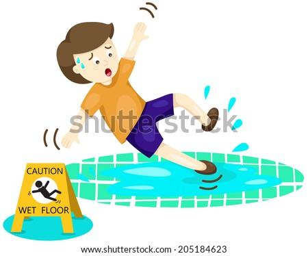 illustration of isolated boy falling on wet floor  - stock photo