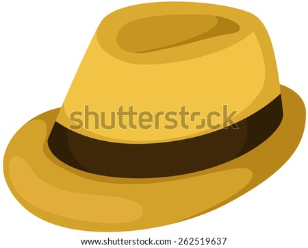 illustration of isolated brown hat on white  - stock photo