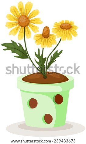illustration of isolated cute daisy in a green pot on white - stock photo