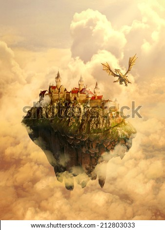 Illustration of isolated dreamland, mystique place, home, castle of beautiful princess invaded, protected by scary dragon. Original screensaver. Fairytale, mythic story concept.  - stock photo