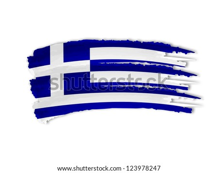 illustration of isolated hand drawn Greek flag - stock photo