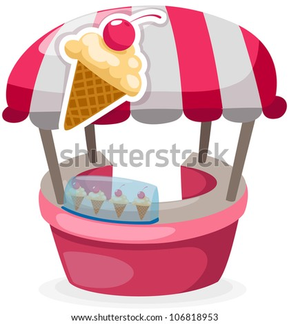 illustration of isolated ice cream stand shop on white - stock photo