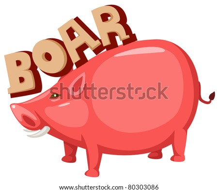 illustration of isolated letter of boar on white background - stock photo