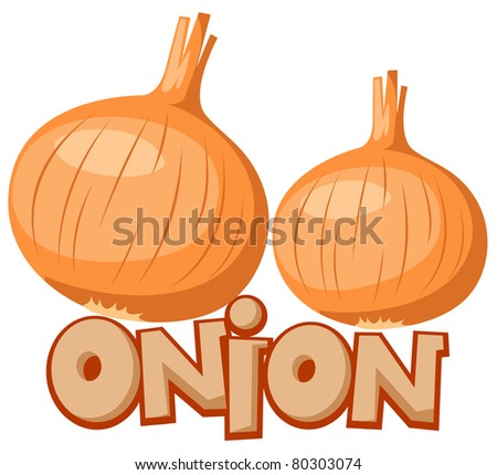 illustration of isolated letter of onion on white background - stock photo