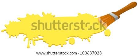 illustration of isolated paint brush on white background - stock photo