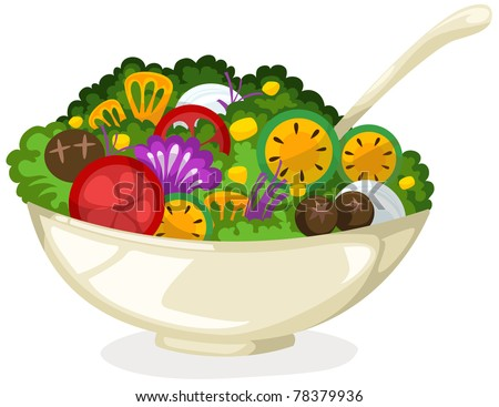 illustration of isolated salad in bowl on white background - stock photo