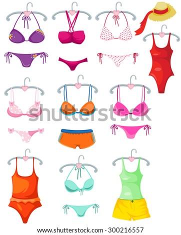 illustration of isolated set of bikini and bra on white  - stock photo