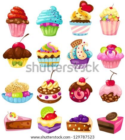 illustration of isolated set of cute cake on white - stock photo