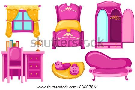 illustration of isolated set of pink furniture on white background - stock photo