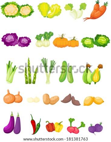 illustration of isolated set of vegetables on white  - stock photo