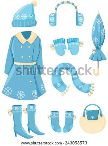 illustration of isolated set of winter clothings  - stock photo