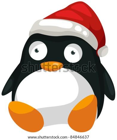 illustration of isolated toy penguin on white background - stock photo