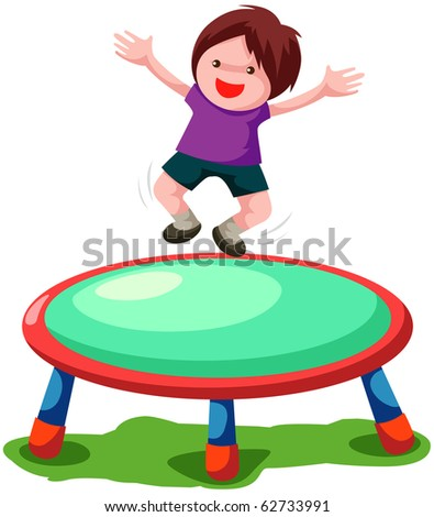 illustration of isolated trampoline jumping on white background - stock photo