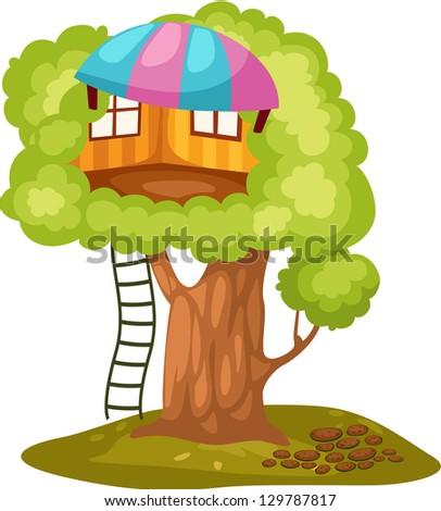 illustration of isolated treehouse on white - stock photo