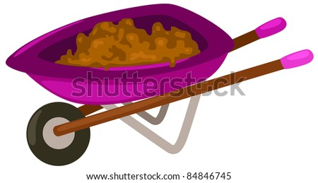 illustration of isolated wheelbarrow on white background - stock photo