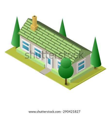 Illustration of isometric living building. Placed on separated island. Easy to edit, clear and simple. - stock photo