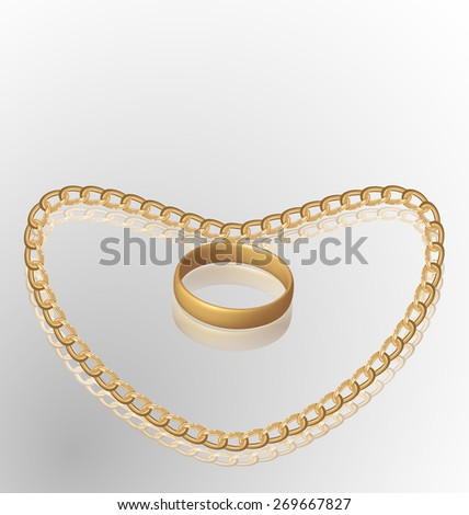 Illustration of jewelry ring on golden chain of heart shape - raster - stock photo