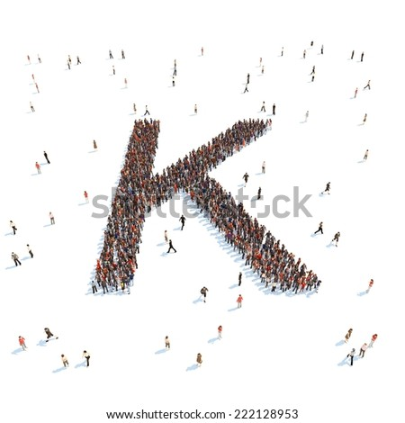 illustration of K letter with people - stock photo